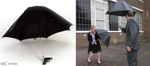 Umbrela cu pistol cu apa